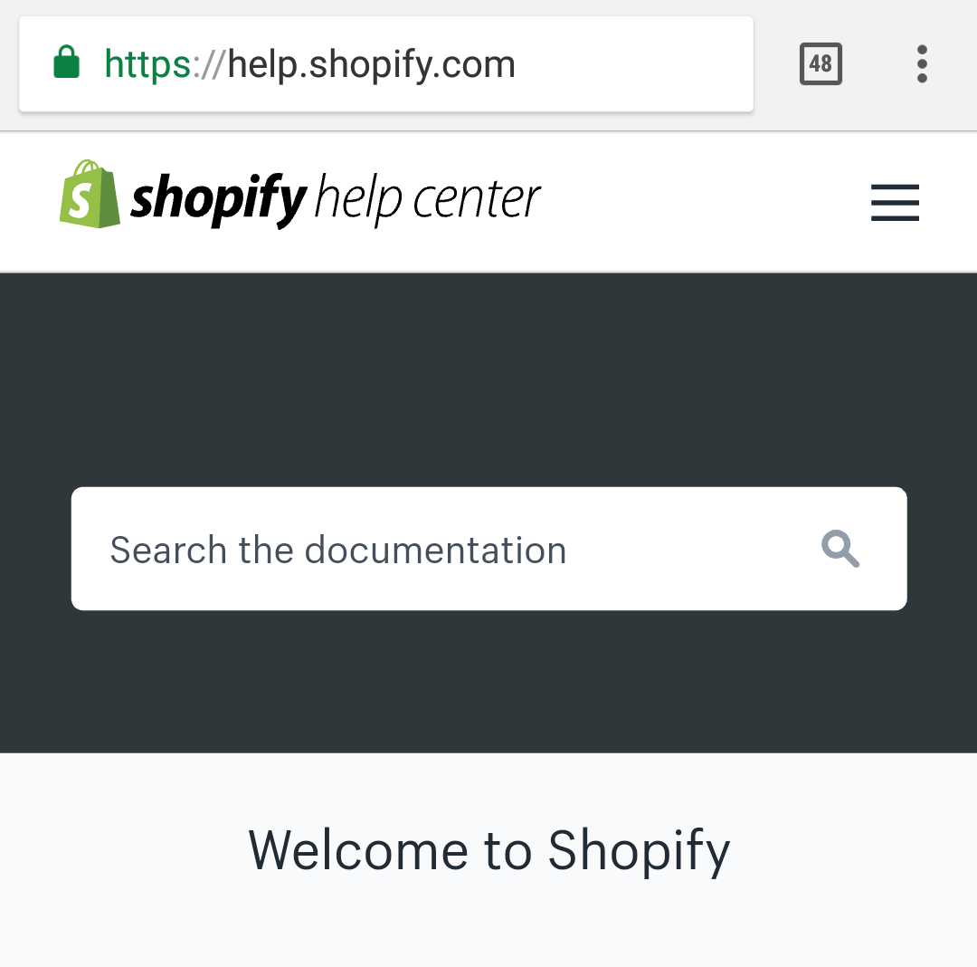 Shopify's search bar on mobile