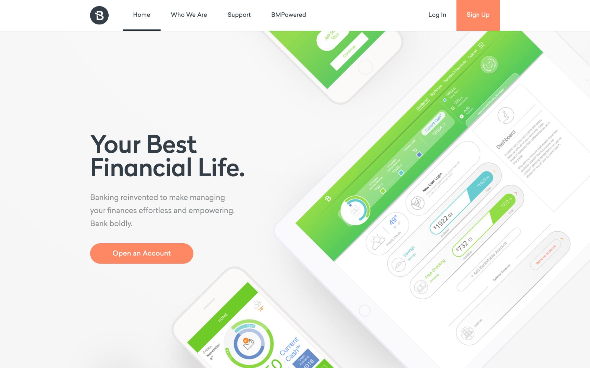BankMobile's homepage