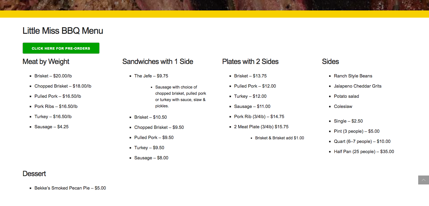 The menu section of the Little Miss BBQ website.