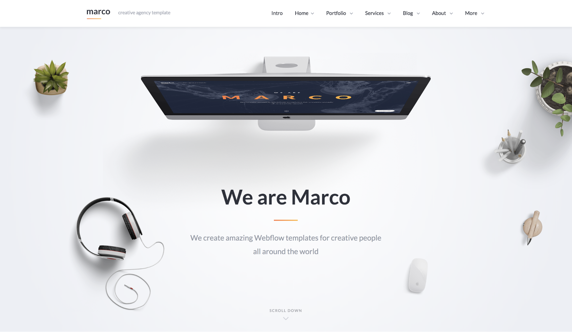 "Homepage of the Marco template built for Webflow featuring an aerial view of a white desk with an apple computer, a mouse, headphones. The copy reads ""We are Marco. We create amazing Webflow templates for creative people around the world"""