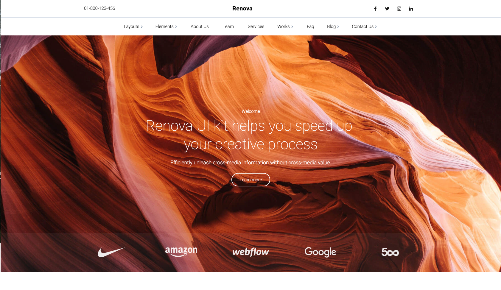 Homepage for Webflow template called Renova.