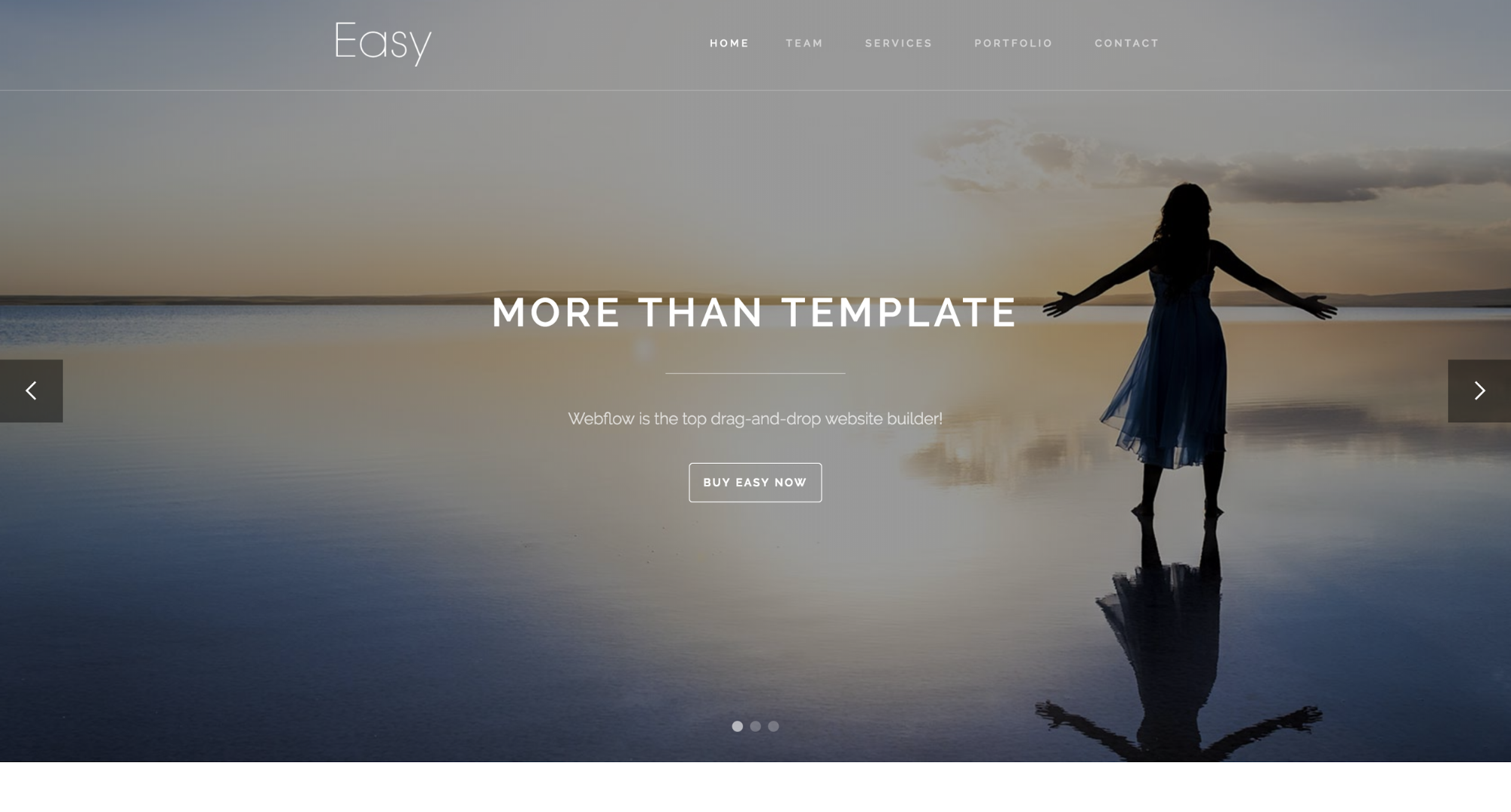Homepage for Webflow template called Easy.