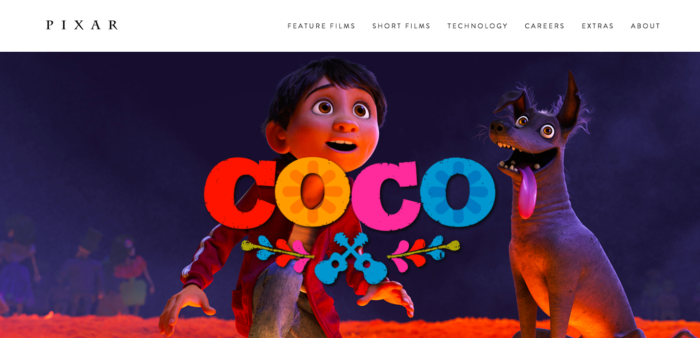 Pixar landing page featuring a closeup of Miguel and Dante from the movie Coco.