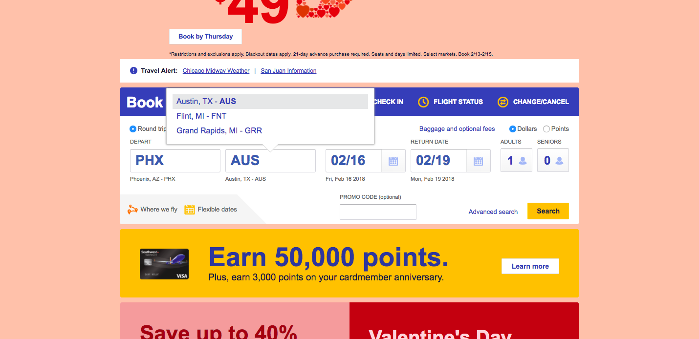 Southwest Airlines booking form