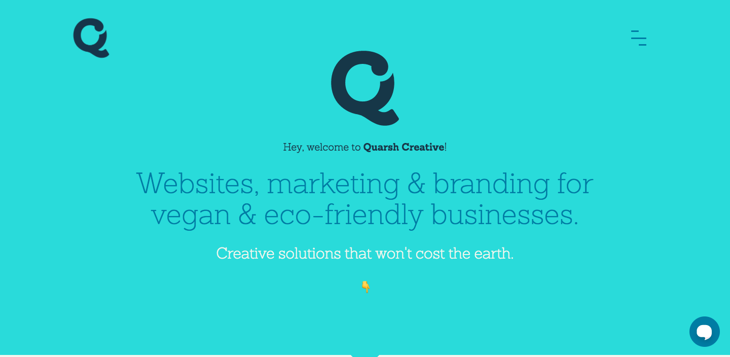 Quarsh creative agency homepage hero