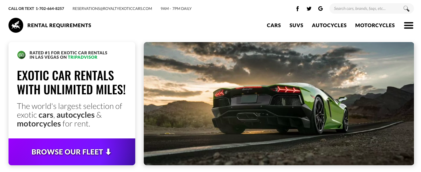 Royalty Exotic Cars homepage hero