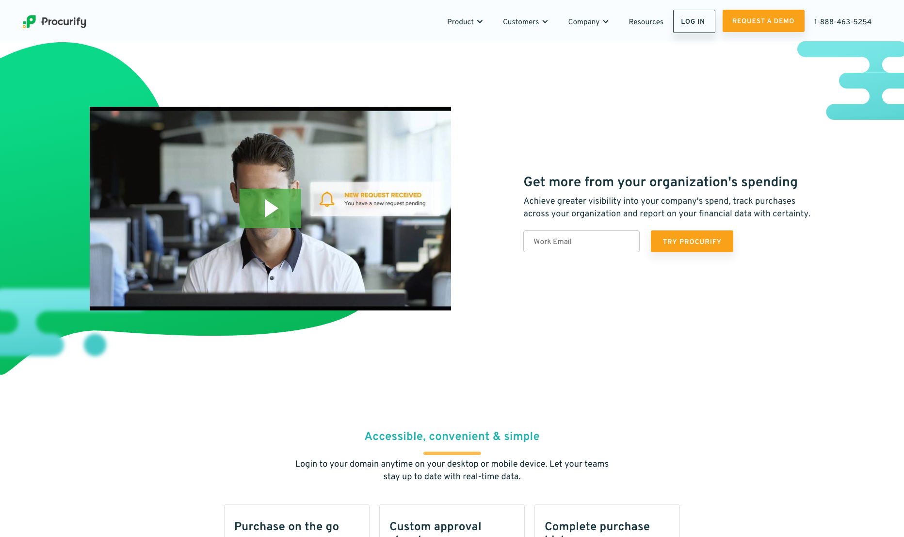 Procurify's homepage