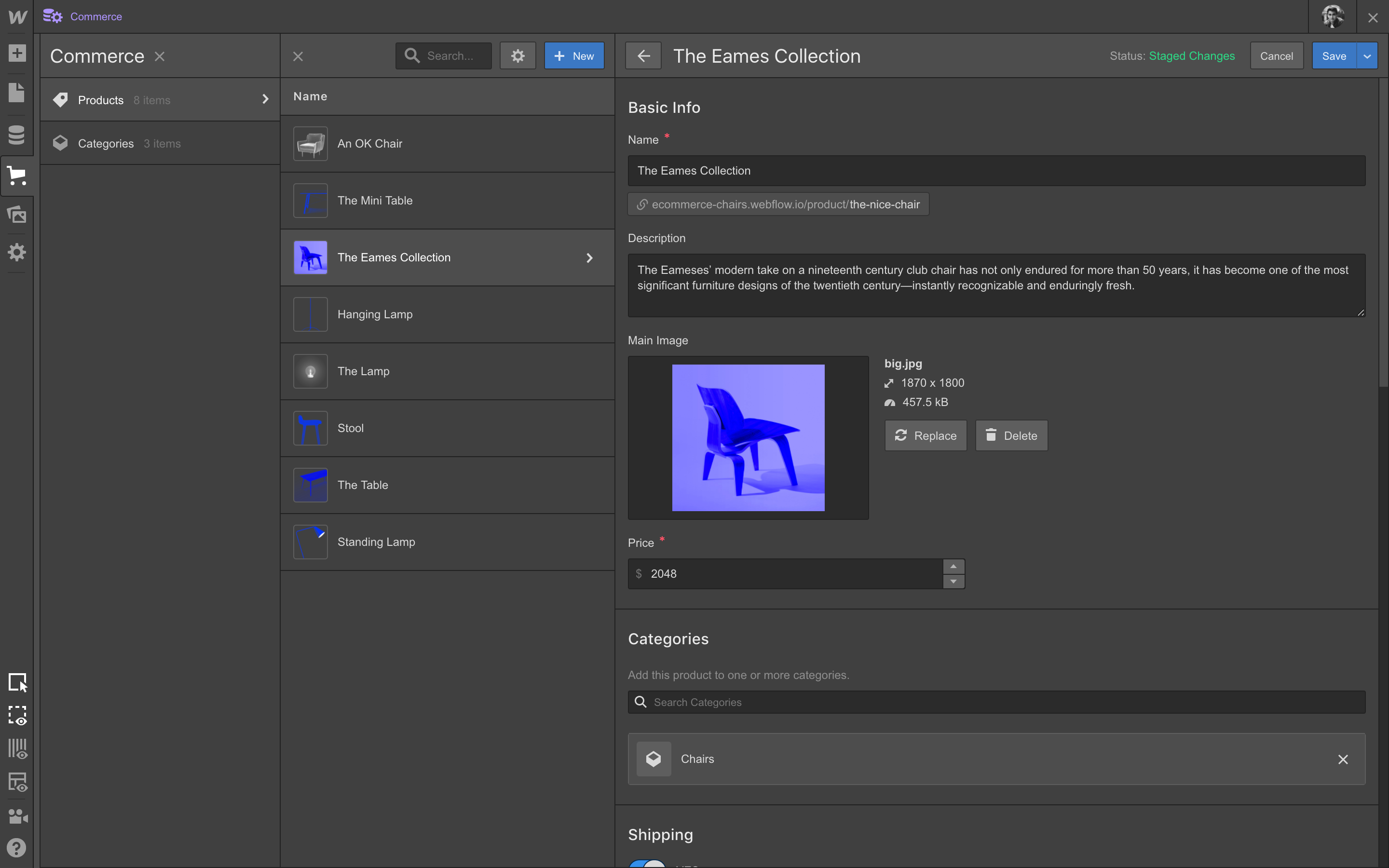 Add custom fields to products just as you would for Collections.
