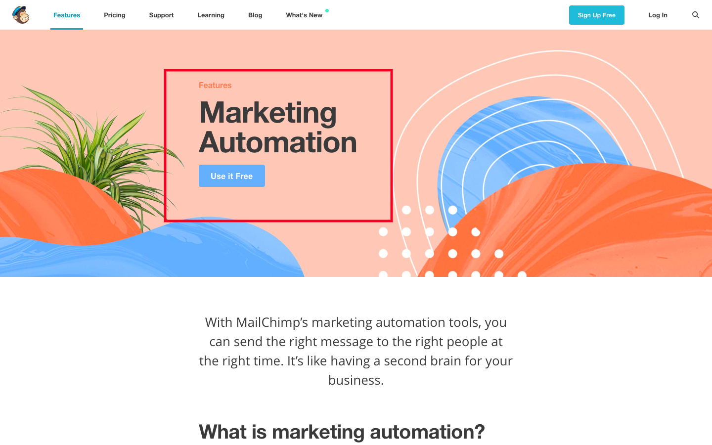 MailChimp homepage uses large type to highlight key features