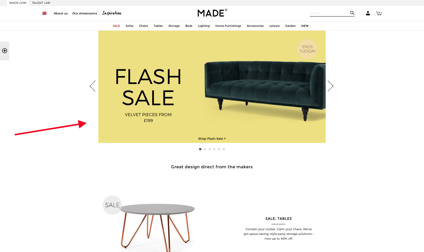 Made uses color to highlight their flash sale