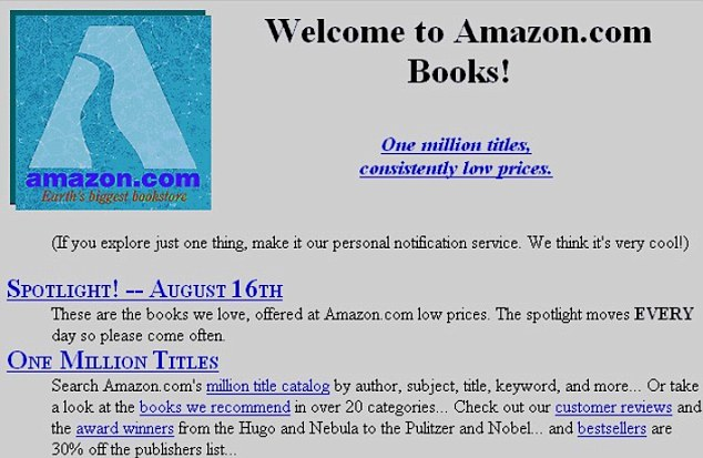 Dated Amazon text-based homepage with pixelated fonts and images on a grey background with blue hyperlinks