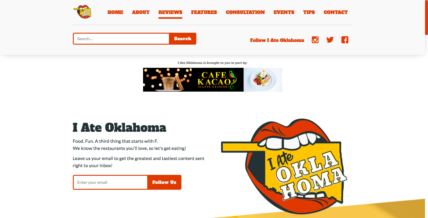 I Ate Oklahoma landing page.