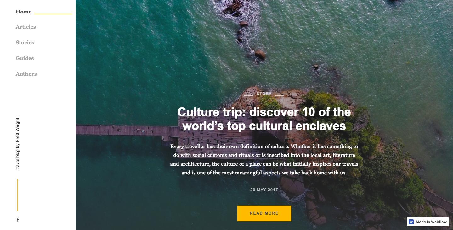 Travel blog prototype landing page.