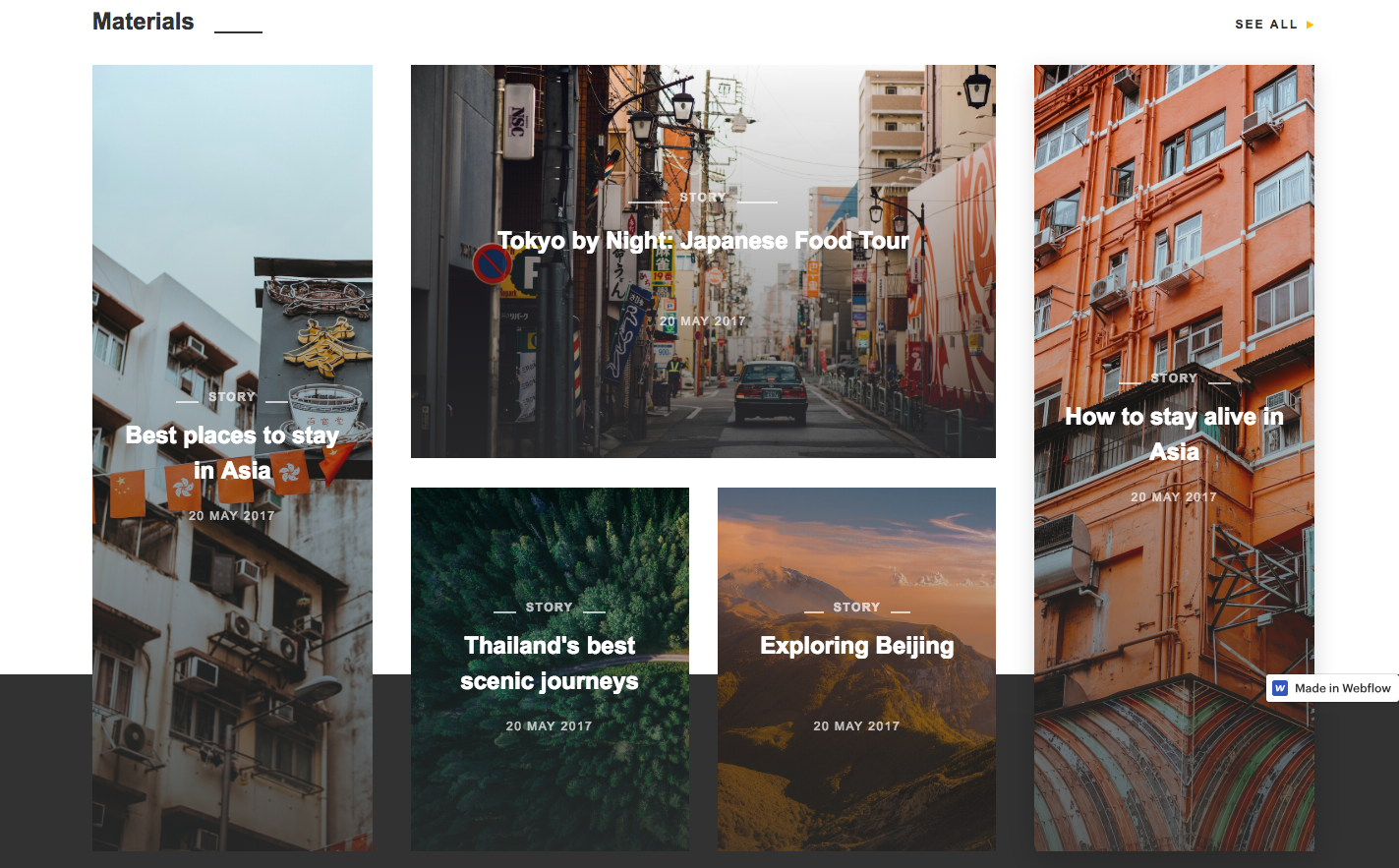 Travel blog template sample page.