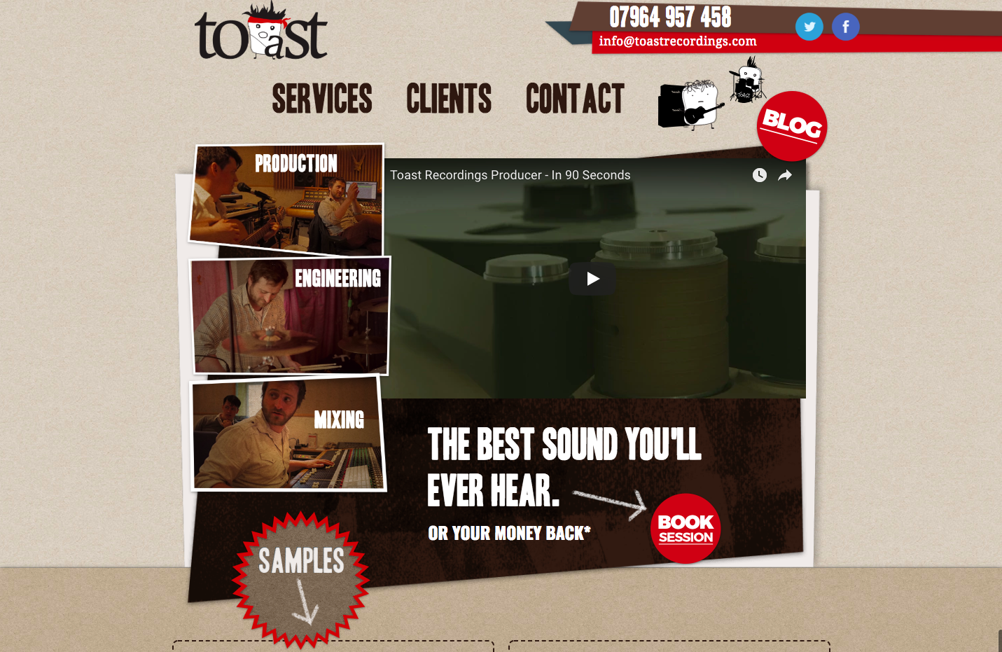 Toast Recording Studio homepage