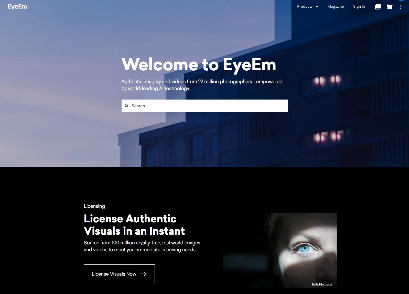 EyeEm homepage.