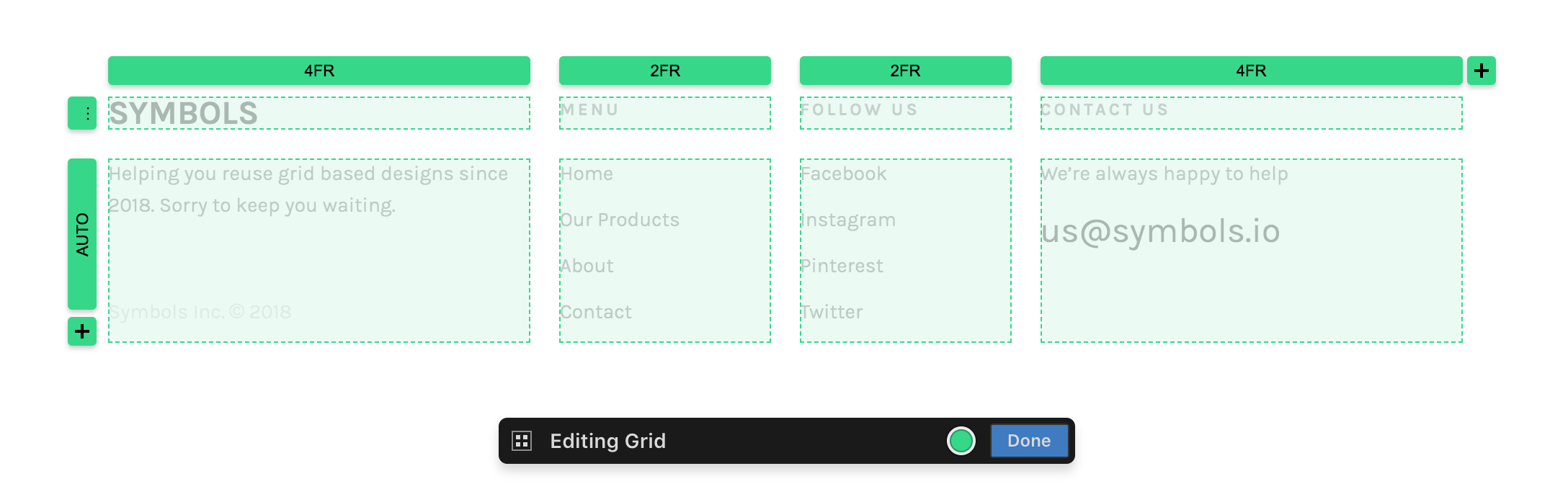 Footer bult with grid layout tools.