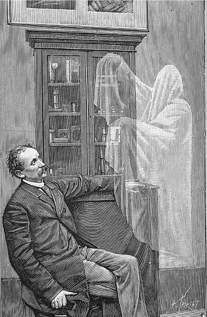 Illustration of a man in a room with a ghost.