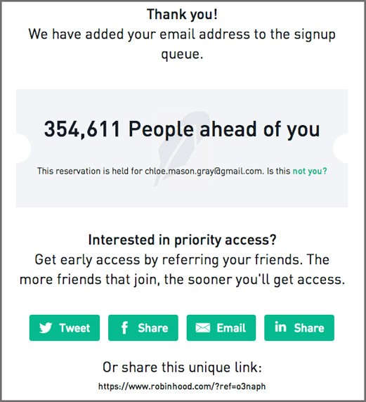 Sign-up confirmation screen reads: Thanks you! We have added your email address to the sign up queue 354,6111 People ahead of you