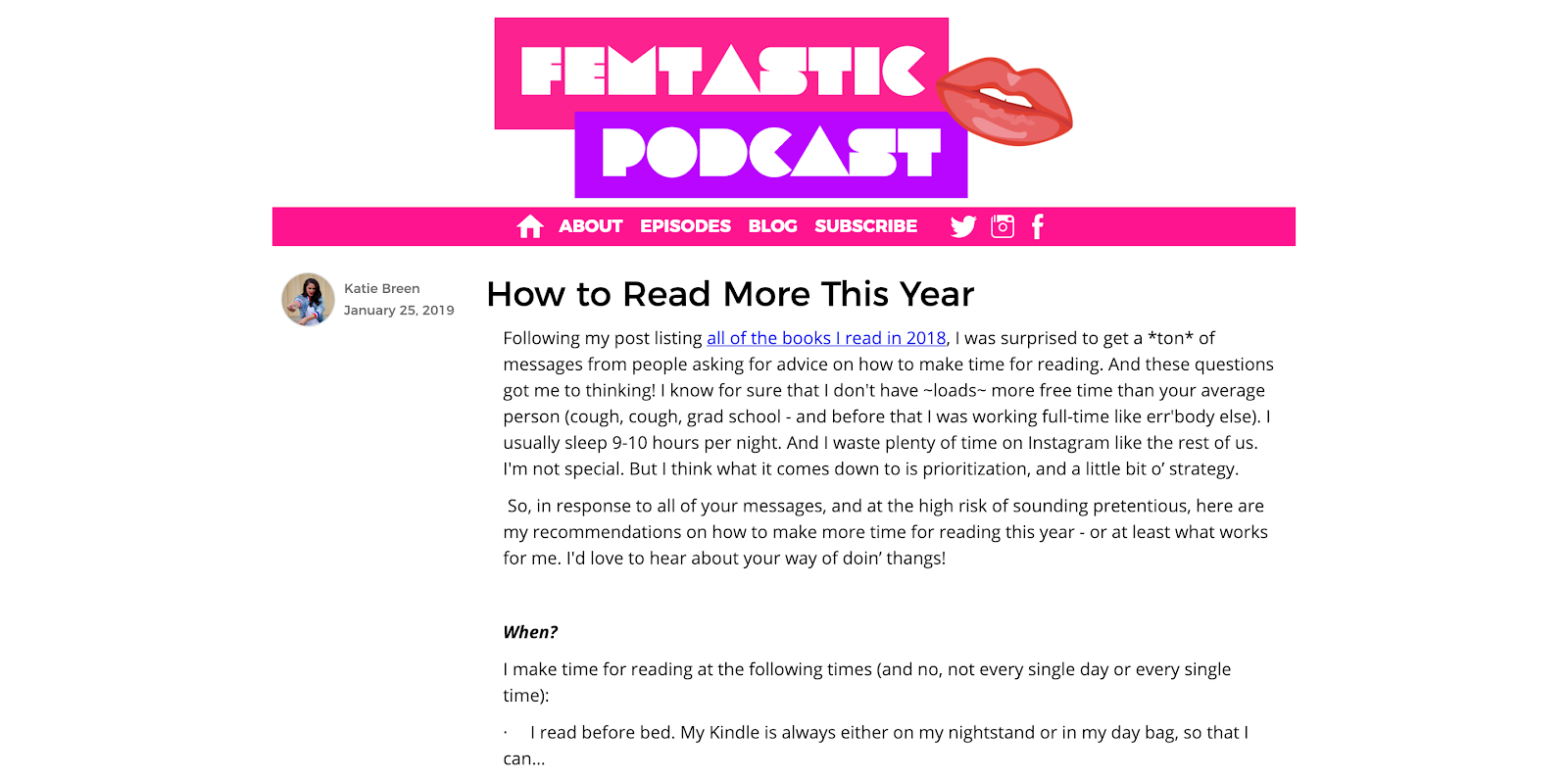 Femtastic Podcast homepage