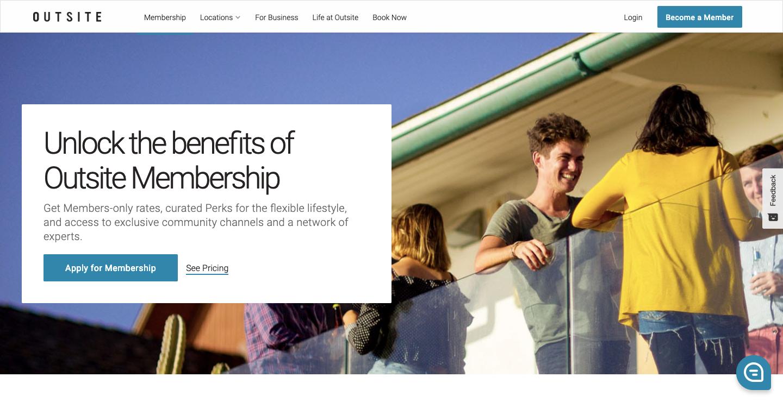 Outsite homepage.