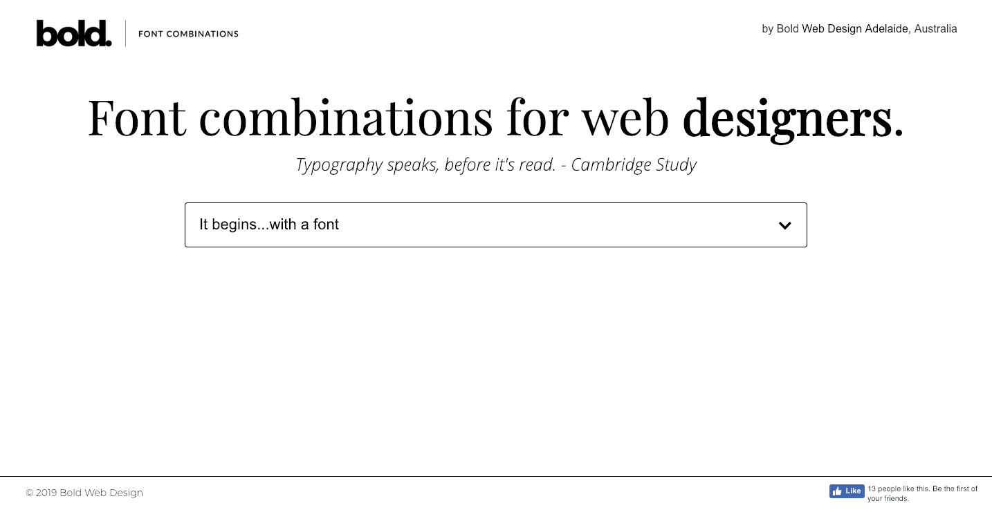 Font combinations for web designers homepage.