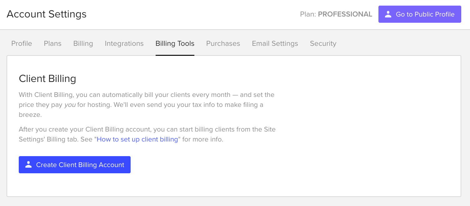 Client Billing tool page on Webflow.