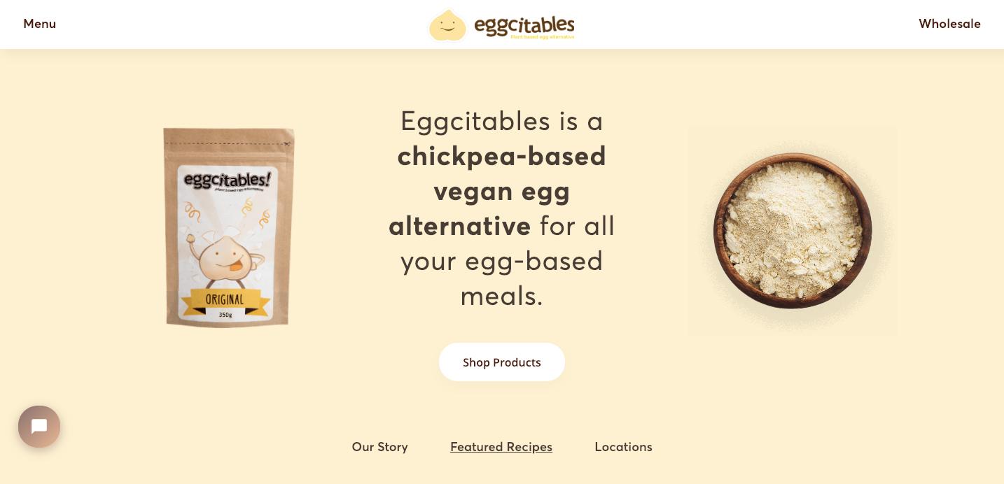 Eggcitables homepage.