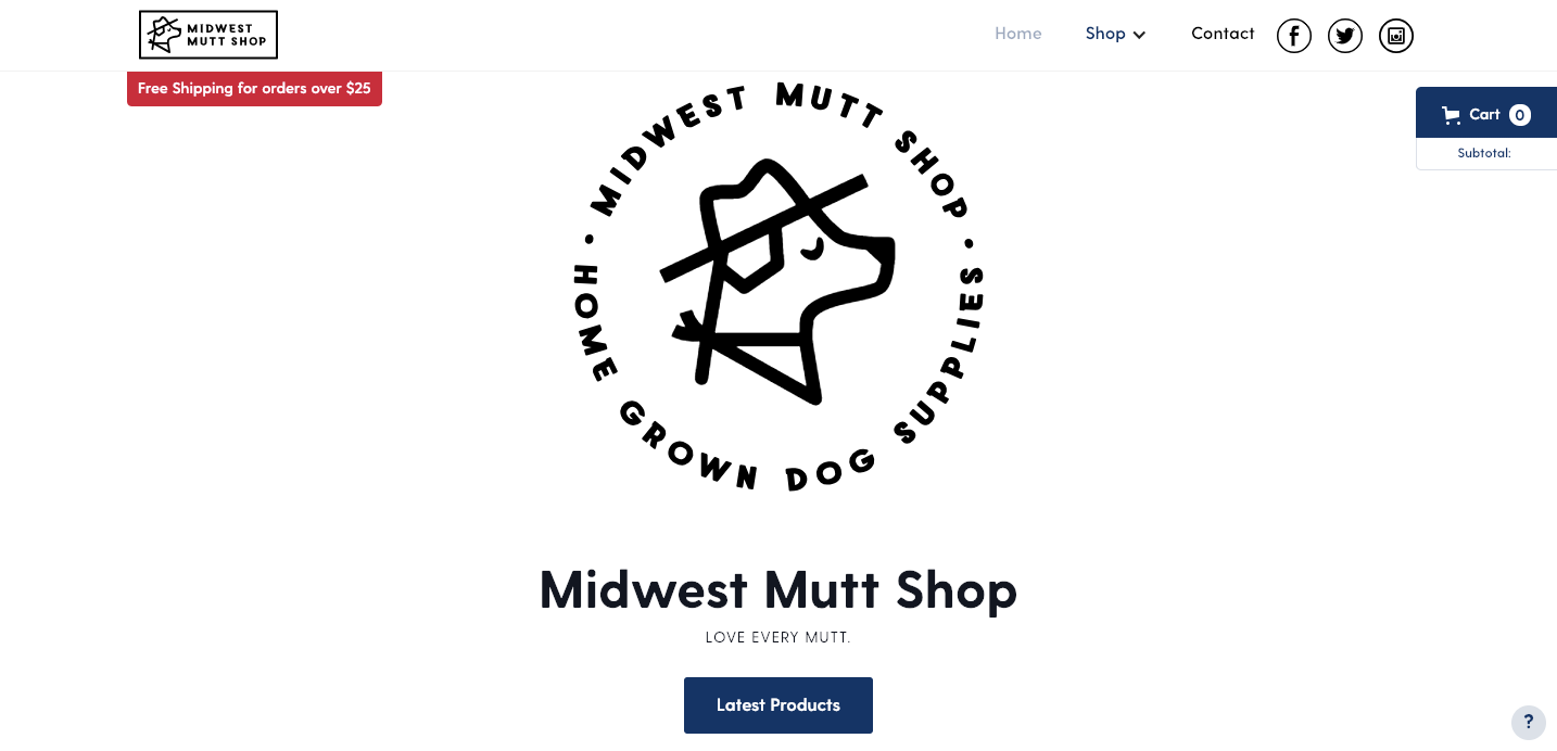 Midwest Mutt Shop homepage.