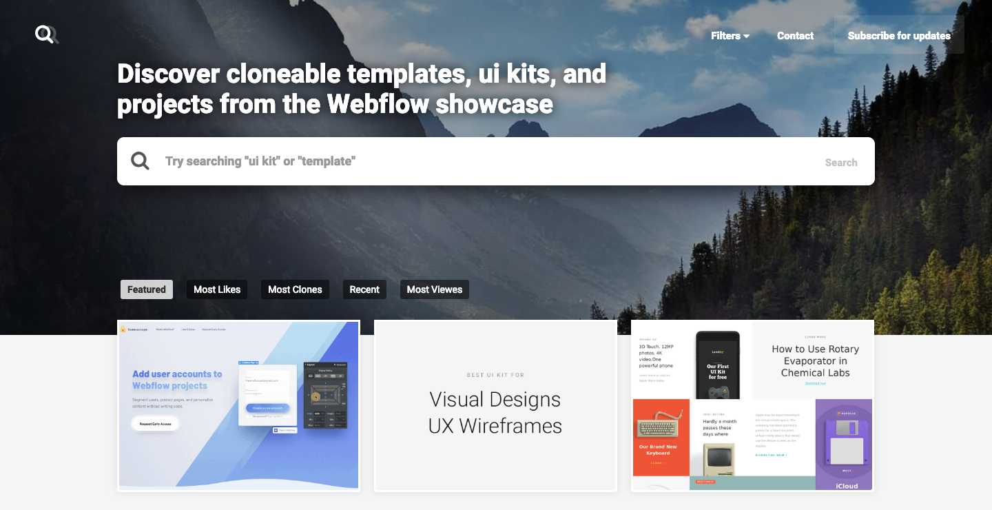 Webflow showcase search homepage.
