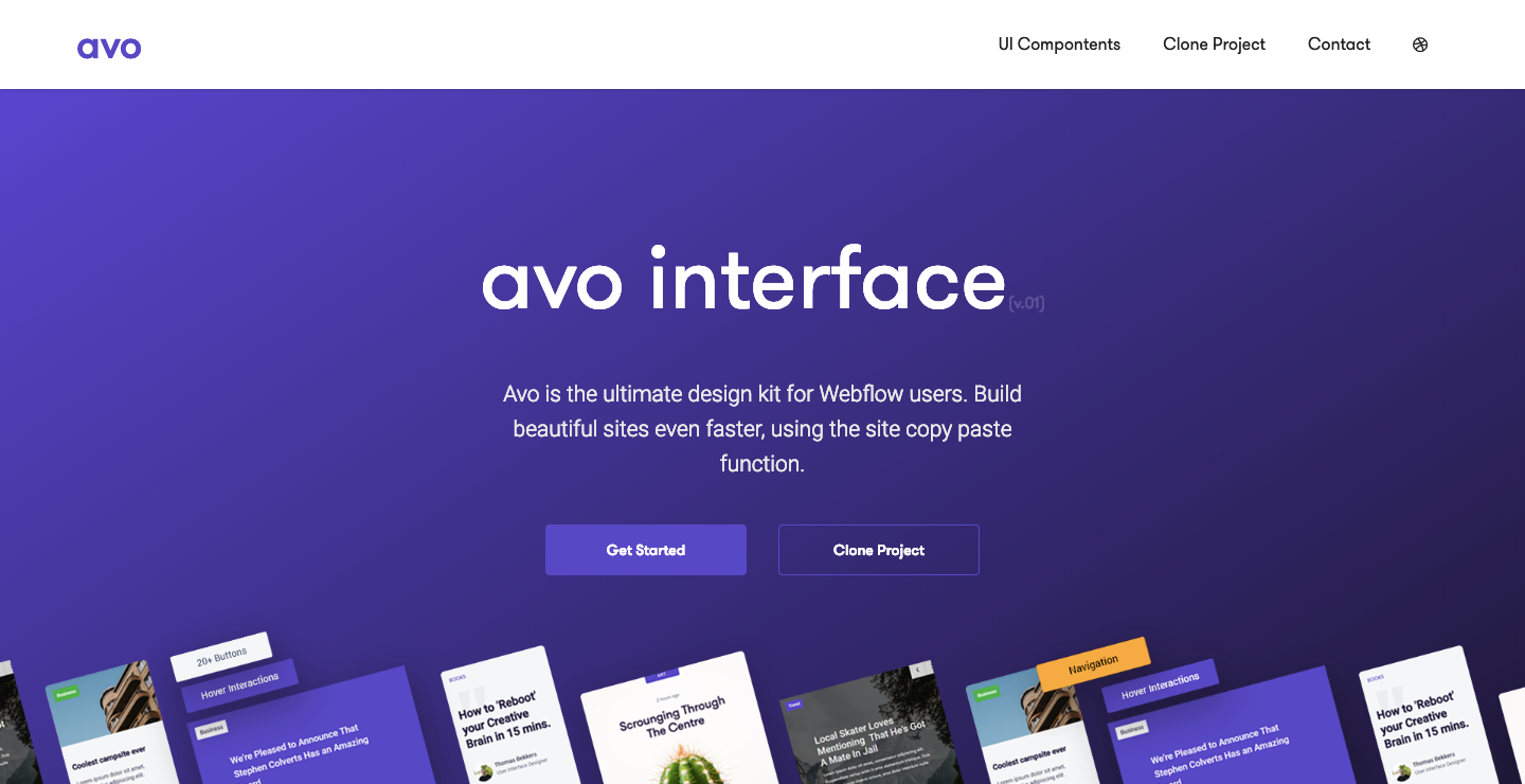 Avo Interface Webflow showcase page.
