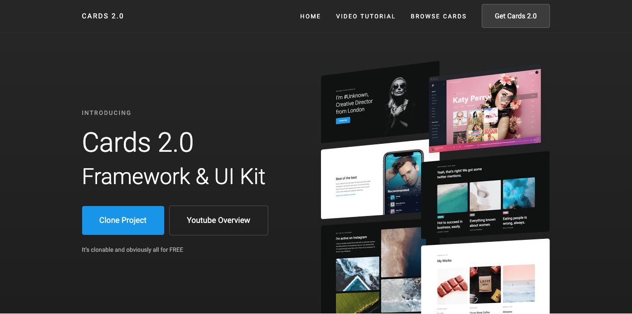 Cards 2.0 Frameworks & UI Kit Webflow sho.