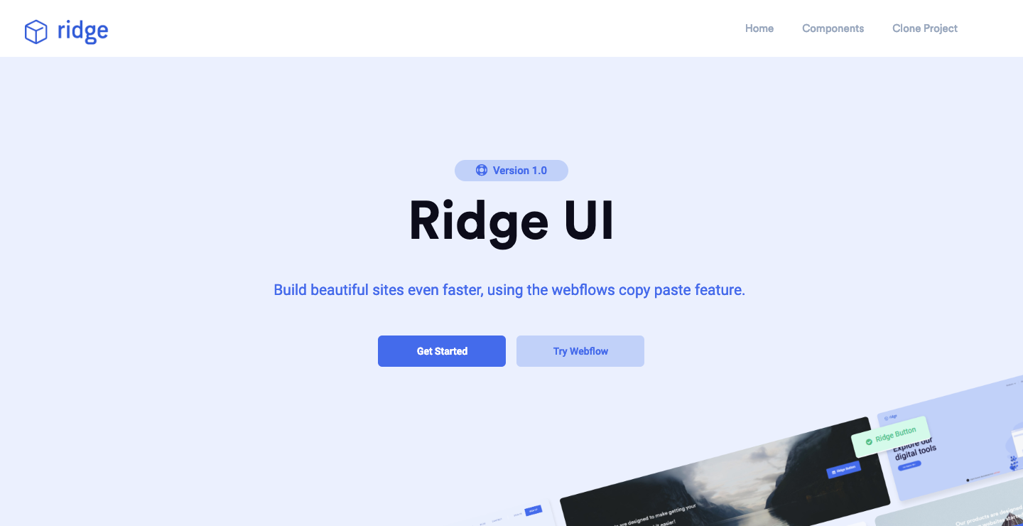 Ridge UI Webflow showcase page.