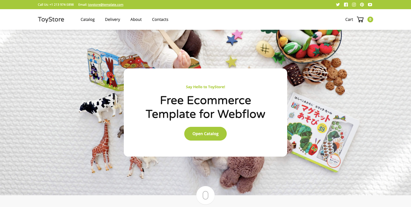 ToyStore Webflow showcase page.