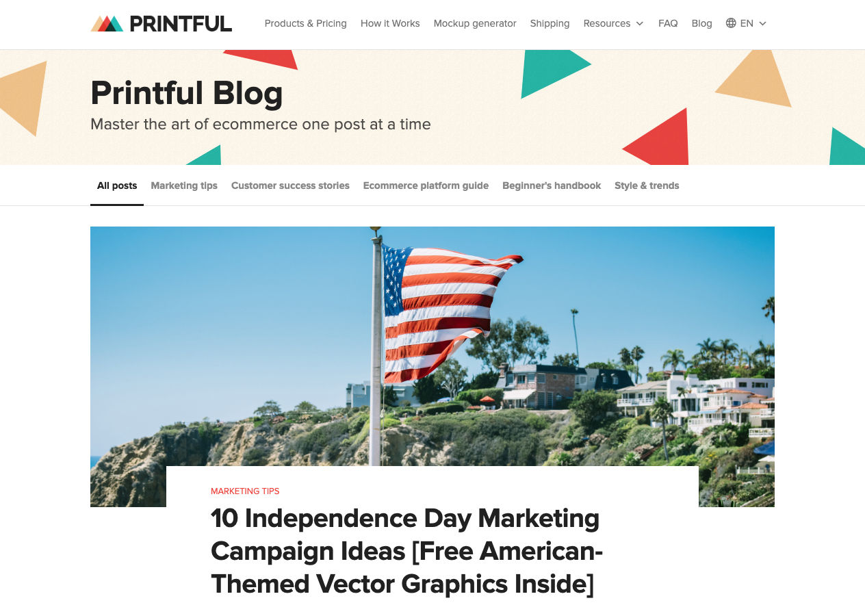 Printful blog landing page.