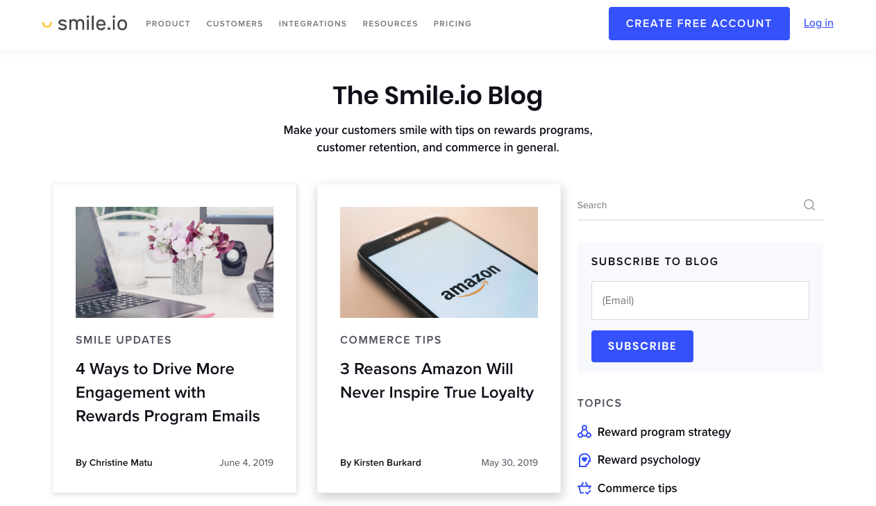 smile.io blog landing page.
