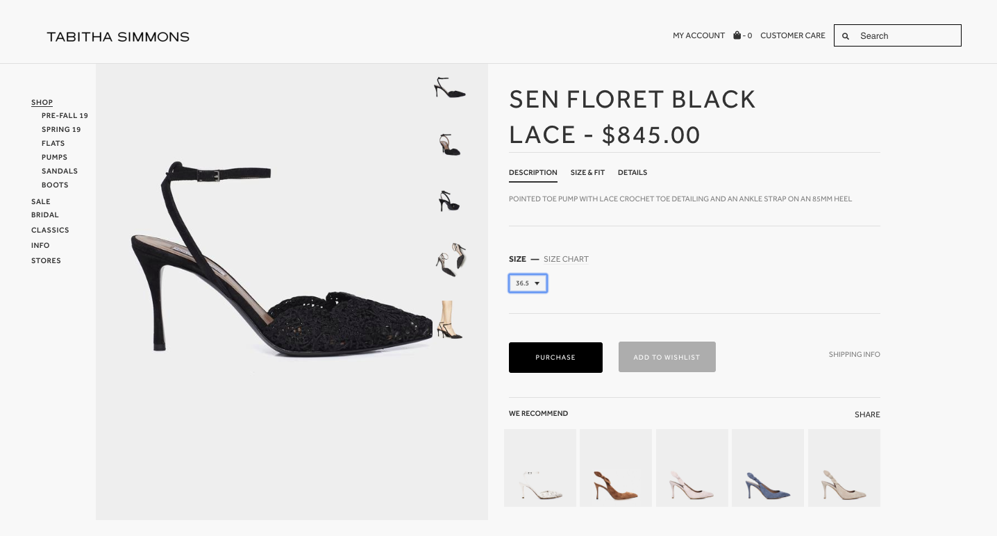 Tabitha Simmons product description page for Sen Floret Black Lace shoes.