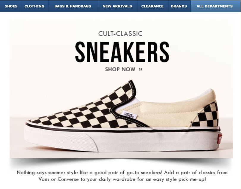 Zappos ad for Cult Classic Sneakers, checkered Vans.
