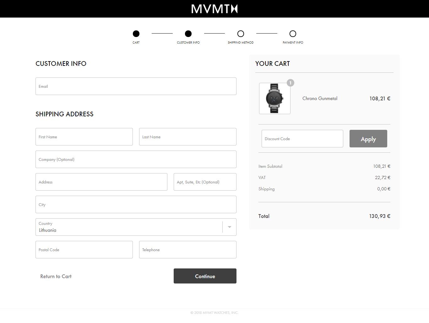 MVMT checkout page.