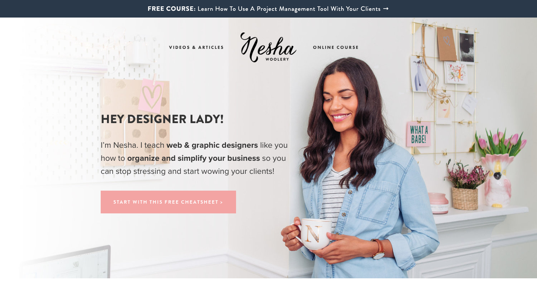 Nesha Woolery homepage.