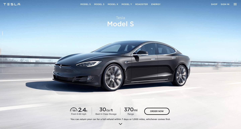 Tesla homepage.