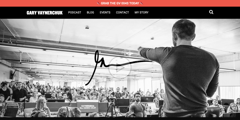 Gary Vaynerchuck homepage.