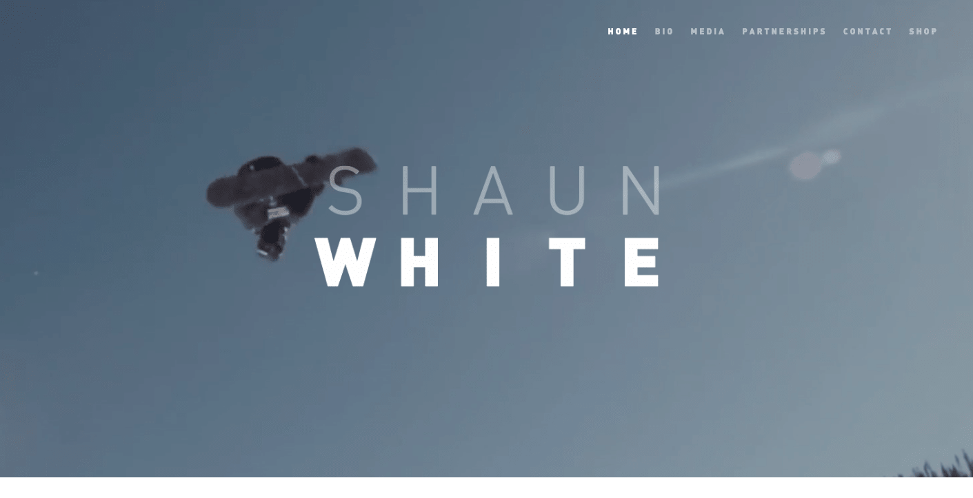 Shaun White homepage.