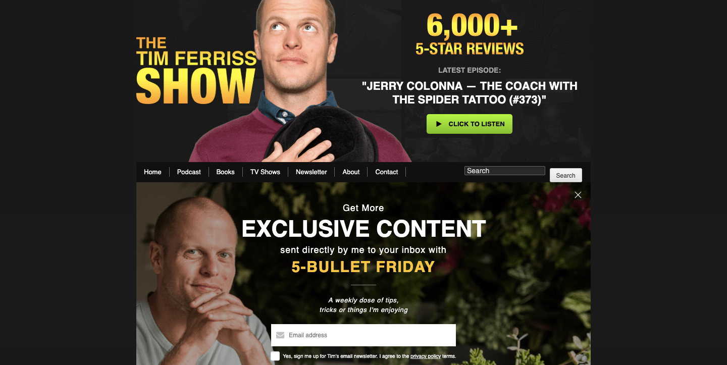 Tim Ferriss homepage.