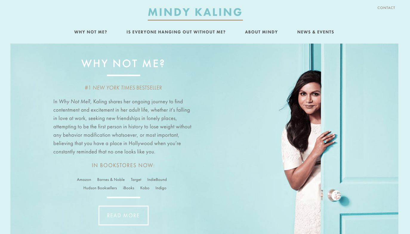 Mindy Kaling homepage.