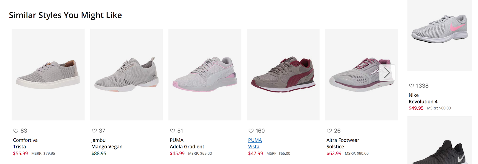 A product recommendation carousel on Zappos.com