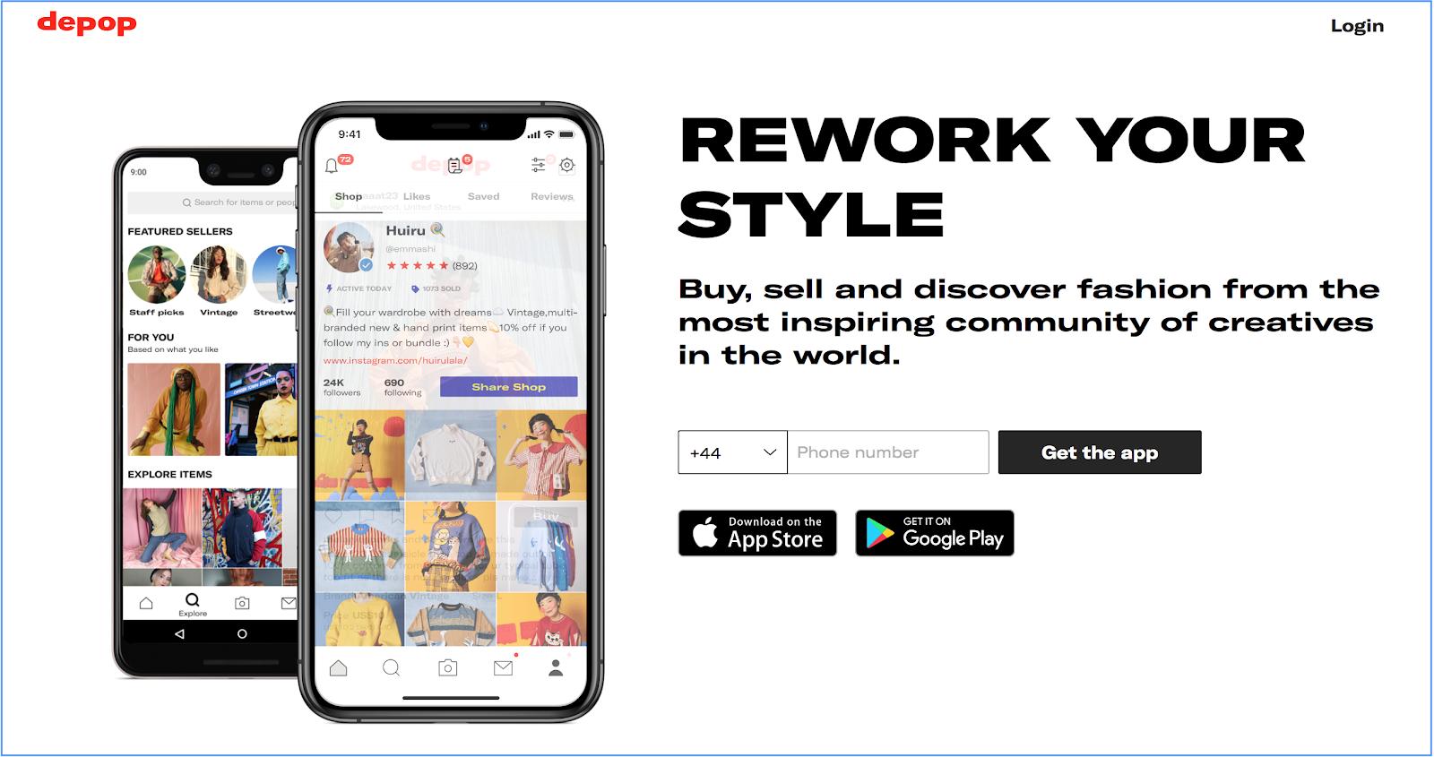 Depop app homepage