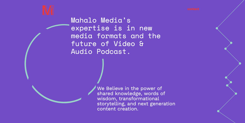 Mahalo Media homepage.
