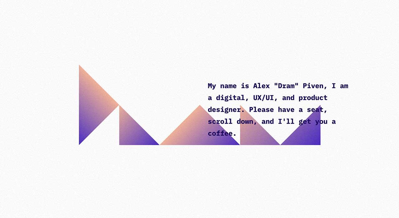 Alex Dram's portfolio site.