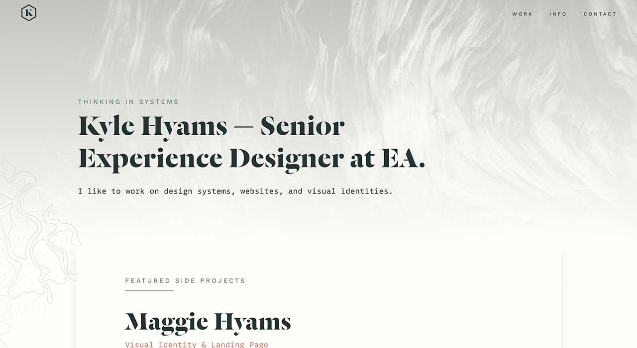 Kyle Hyams' portfolio site.